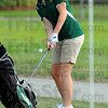 Chip: Ciara McClain watches her chip onto the #3 green at Forest Park in the Viking's match with Northview Monday.