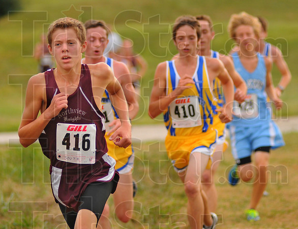 Top finisher: Ryan South, top finisher for Northview, strides up one of the many Craig Park hills.