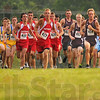 And, they're off: Northview(burgundy) hosted a cross country meet at Craig Park Tuesday evening. Also running were Brown County(yellow) Owen Valley(red) and Shakamak(light blue).