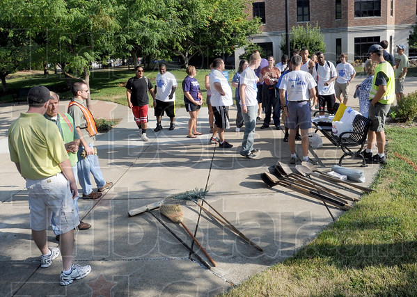 Tool time: Indiana State University students meet with organizers of the annual Donaghy Day event on the campus prior to starting their morning of clean-up around various parts of the campus and city Tuesday morning.