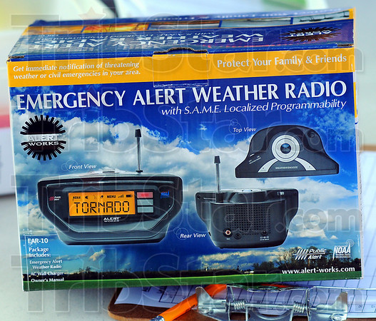 On alert: The general public was able to sign up for free weather alert radios at Tuesday's National Night out.