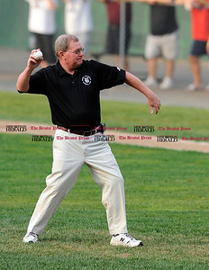 8/3/2010 Mike Orazzi | Staff Bristol Mayor Art Ward throws out the first pitch at the start of the NECBL game between Bristol and Danbury at Muzzy Field on Tuesday night.
