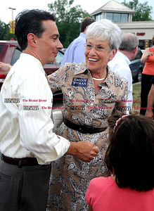 8/4/2010 Mike Orazzi | Staff Democratic Lt. Gov. candidate Nancy Wyman greets  Dean Kilbourne at the Shop Rite Plaza in Bristol during a campaign stop on Wednesday.