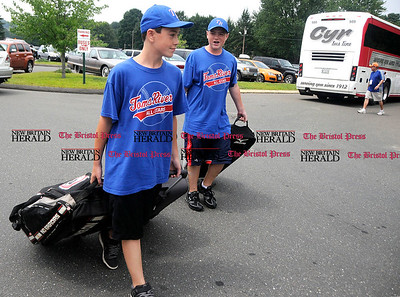 8/5/2010 Mike Orazzi | Staff Members of the Tom's River, New Jersey Little League team Michael Tiplady and Cody Lebar arrival at the Giamatti Little Center for the Eastern Regional Little League tournament that begins on Friday.