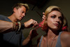 (Denver, Colorado, Aug. 14, 2010)<br /> Matthew Morris works on Reyna.  Matthew Morris Salon and Skincare hosts an annual fundraiser for the Rocky Mountain Cancer Centers Foundation at Cluster Studios in Denver, Colorado, on Saturday, Aug. 14, 2010.<br /> STEVE PETERSON