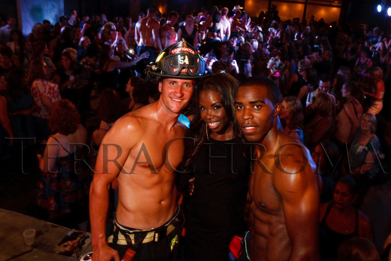(Denver, Colorado, Aug. 27, 2010)<br /> , Erica Cobb (emcee) and Jamal Jackson.  The 2011 Colorado Firefighter Calendar debut party, hosted by Fired Up for Kids and benefiting The Children's Hospital Burn Center, at City Hall Event Center in Denver, Colorado, on Friday, Aug. 27, 2010.<br /> STEVE PETERSON