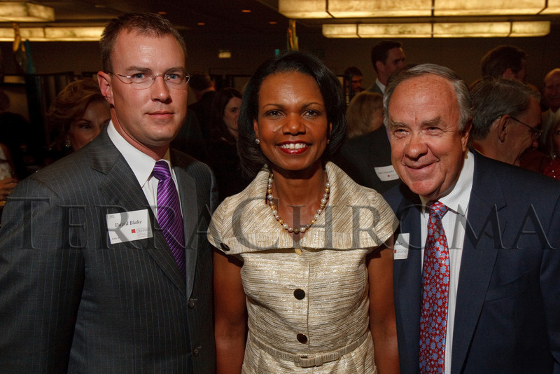 (Denver, Colorado, Aug. 27, 2010)<br /> David Blake, Condoleezza Rice, and Ernie Blake.  The University of Denver's Josef Korbel School of International Studies presents the 13th annual Korbel Dinner at the Hyatt Regency Denver at the Colorado Convention Center in Denver, Colorado, on Friday, Aug. 27, 2010.<br /> STEVE PETERSON
