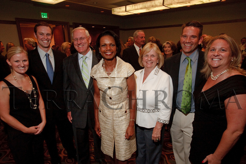 (Denver, Colorado, Aug. 27, 2010)<br /> Lanny and Sharon Martin with Condoleezza Rice (center).  The University of Denver's Josef Korbel School of International Studies presents the 13th annual Korbel Dinner at the Hyatt Regency Denver at the Colorado Convention Center in Denver, Colorado, on Friday, Aug. 27, 2010.<br /> STEVE PETERSON