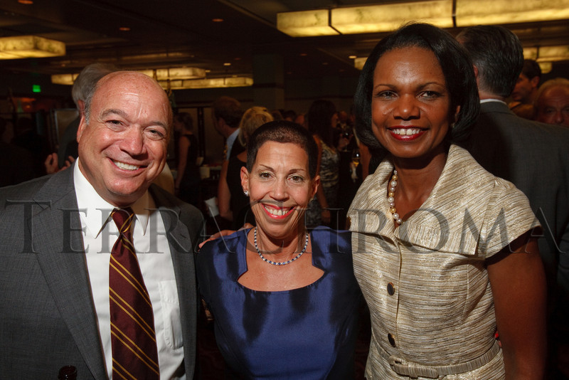 (Denver, Colorado, Aug. 27, 2010)<br /> John Arigoni, Margot Frank, and Condoleezza Rice.  The University of Denver's Josef Korbel School of International Studies presents the 13th annual Korbel Dinner at the Hyatt Regency Denver at the Colorado Convention Center in Denver, Colorado, on Friday, Aug. 27, 2010.<br /> STEVE PETERSON