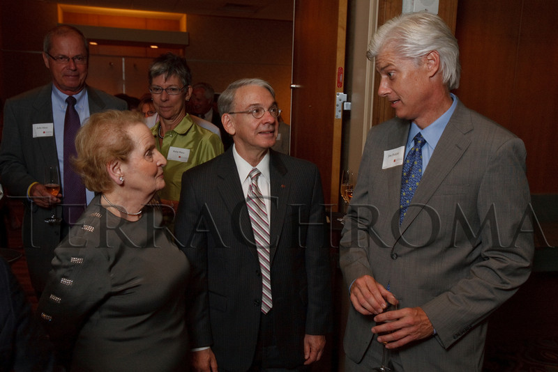 (Denver, Colorado, Aug. 27, 2010)<br /> Madeleine Albright, Robert Coombe, and Jim Polsfut.  The University of Denver's Josef Korbel School of International Studies presents the 13th annual Korbel Dinner at the Hyatt Regency Denver at the Colorado Convention Center in Denver, Colorado, on Friday, Aug. 27, 2010.<br /> STEVE PETERSON