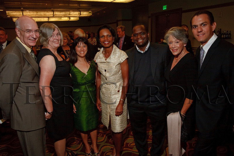 (Denver, Colorado, Aug. 27, 2010)<br /> Ed and Linda McCabe, Michelle Sie Whitten, Condoleezza Rice, Tomago Collins, ...  The University of Denver's Josef Korbel School of International Studies presents the 13th annual Korbel Dinner at the Hyatt Regency Denver at the Colorado Convention Center in Denver, Colorado, on Friday, Aug. 27, 2010.<br /> STEVE PETERSON
