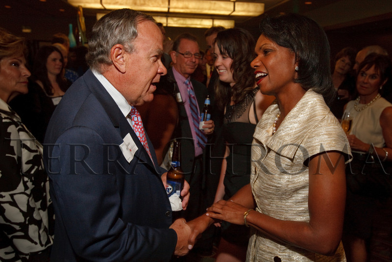 (Denver, Colorado, Aug. 27, 2010)<br /> Ernie Blake and Condoleezza Rice.  The University of Denver's Josef Korbel School of International Studies presents the 13th annual Korbel Dinner at the Hyatt Regency Denver at the Colorado Convention Center in Denver, Colorado, on Friday, Aug. 27, 2010.<br /> STEVE PETERSON