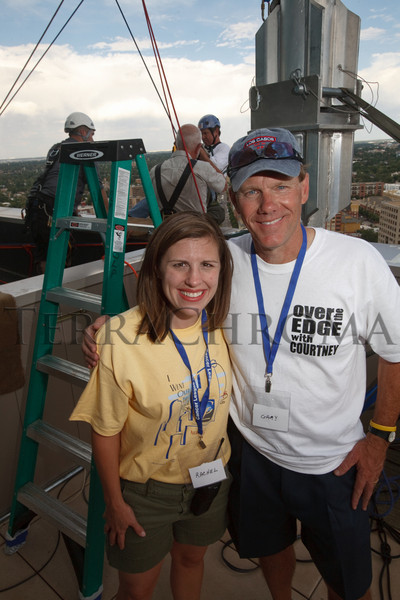 "(Denver, Colorado, Aug. 27, 2010)<br /> Rachel Neumann (event chair) and Gary Reece.  ""Over the Edge,"" a benefit for the Cancer League of Colorado, at One Lincoln Park in Denver, Colorado, on Friday, Aug. 27, 2010.<br /> STEVE PETERSON"