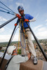 "(Denver, Colorado, Aug. 27, 2010)<br /> Caleb Bentsen helps Quinn Washington get set for his rappel.  ""Over the Edge,"" a benefit for the Cancer League of Colorado, at One Lincoln Park in Denver, Colorado, on Friday, Aug. 27, 2010.<br /> STEVE PETERSON"