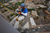"(Denver, Colorado, Aug. 27, 2010)<br /> Quinn Washington enjoys his rappel.  ""Over the Edge,"" a benefit for the Cancer League of Colorado, at One Lincoln Park in Denver, Colorado, on Friday, Aug. 27, 2010.<br /> STEVE PETERSON"