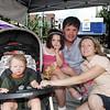 Roman (boy, stroller); Scarlett (girl); Dan and Jennye Lewandowski