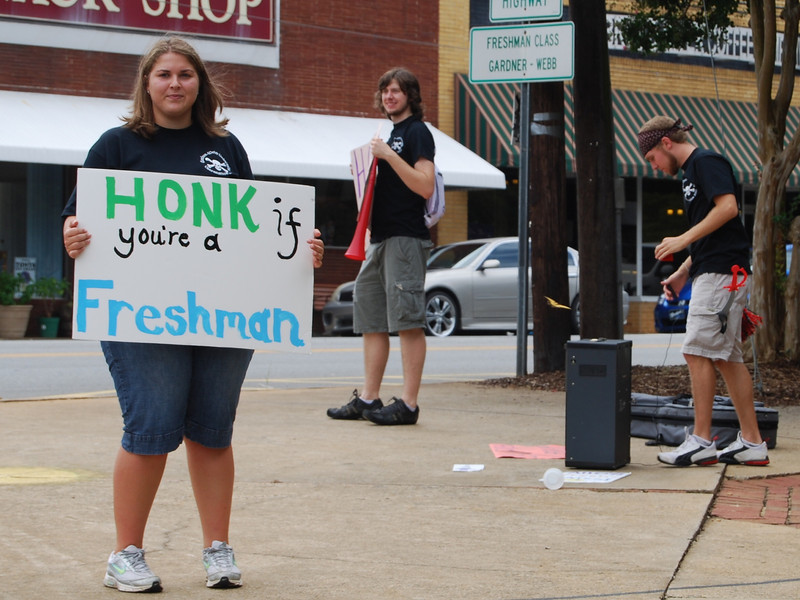 Upperclassmen welcomed the new freshmen to orientation on move-in day.