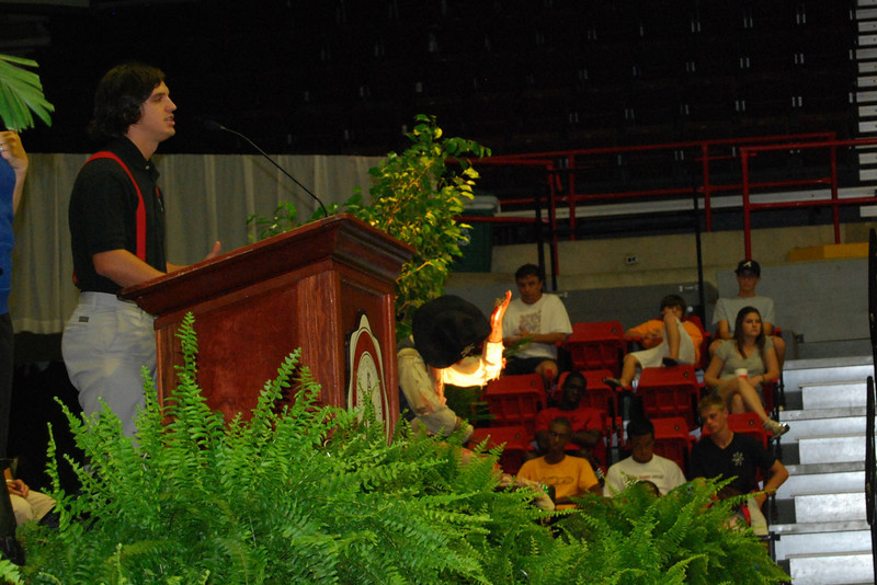 Student body president, Taylor Doolittle, welcomes the freshmen on behalf of the student body.