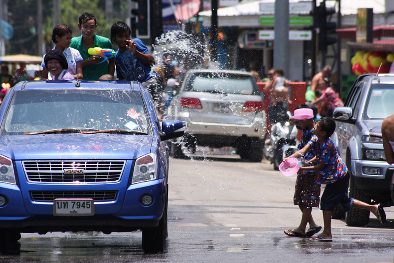 Thai New Year celebrations involve a spectacular nationwide waterfight for the entire day.