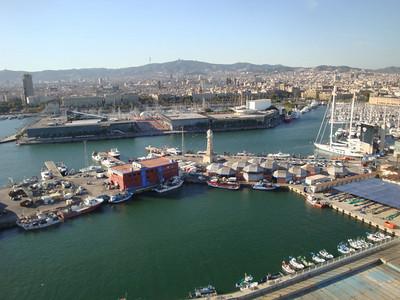 Gondola view of marina & city