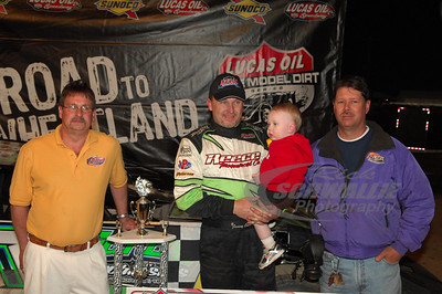 Jimmy Owens in Victory Lane with Bedford Speedway promoters Jim Maybury (left) and JR Keifer (right)