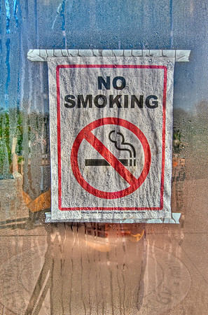 "I thought this ""No Smoking"" sign on the entrance to the conservatory was really neat because of all the condensation on the glass. Apparently when I walked into the conservatory the ladies inside were wondering why on earth I was taking a picture of a ""No Smoking"" sign. Little did they know it would turn out this cool!"