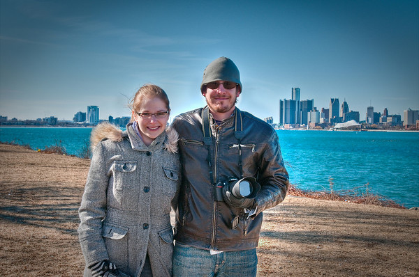 Brian and Heather at Belle Isle, standing across from GM Headquarters!