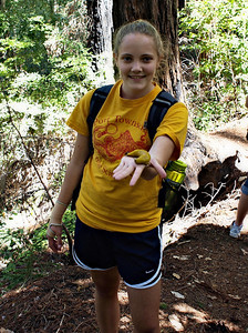 Emily with a Banana Slug - our 100th sighting out of an eventual total of 210 (her hand was numb afterwards)