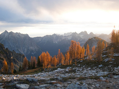 Sunrise over the North Cascades.  Cutthroat in the background.