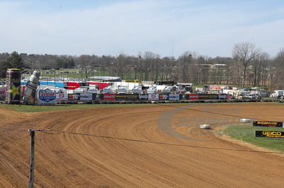 Brownstown Speedway and the line of traffic in the background waiting to get in to the track.