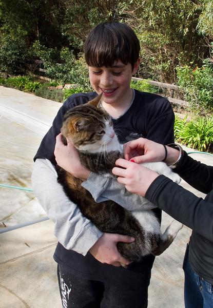 Benjamin with Apollo the cat