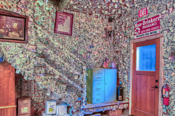 The back-side wall of the cool Prager Winery -- here you can see al the dollar bills stuck all over!