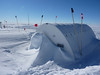 Heavy snow drift on the entrance to the science trench<br /> <br /> Photo: Julia Zabori