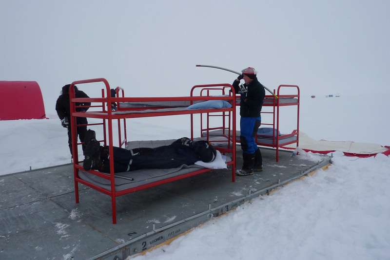 In the beginning of the season sleeping domes are set up, including bunk beds<br /> <br /> Photo: Julia Zabori