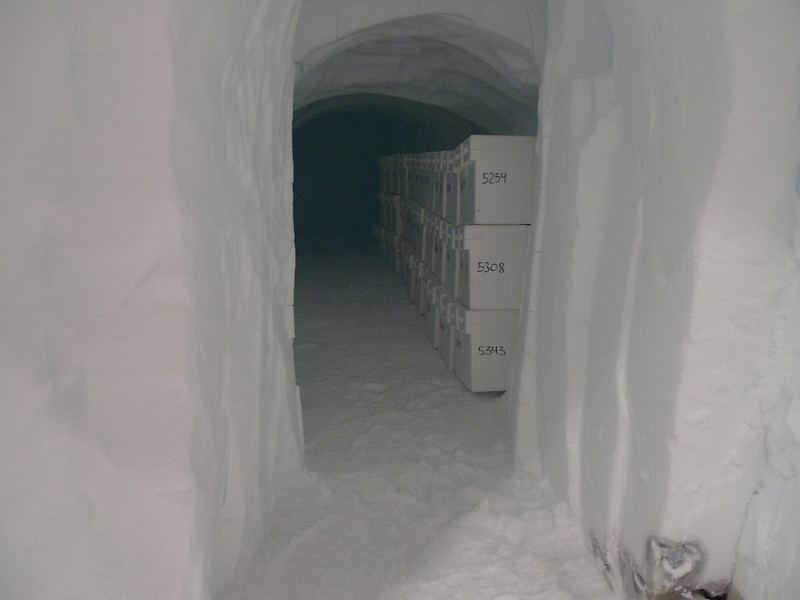 In the science trench there is an extra room to keep ice filled boxes<br /> <br /> Photo: Sepp Kipftstuhl