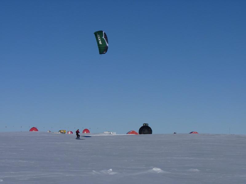 Kite skiing close to camp<br /> <br /> Photo: Liz Thomas
