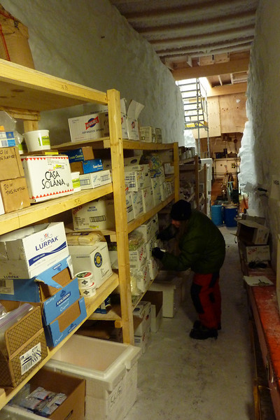 Kitchen supplies are kept cold in the front end of the drill hall<br /> <br /> Photo: Julia Zabori