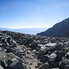 Talus and a hazy Owens Valley