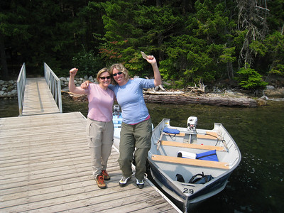 Our heroes, Jill and Susan who traveled up to Ross Lake, rented a boat, and picked us up after guessing correctly what time we would emerge from the trail.