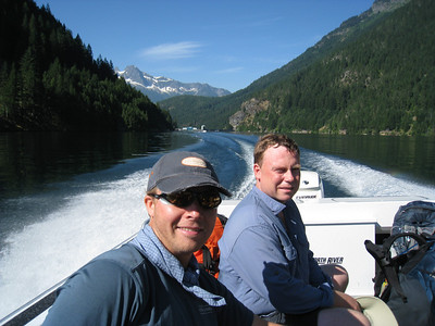 Taking the water taxi at Ross Lake to shave 7 miles off the approach.
