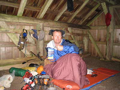 After getting rained on for the descent from the ridge to Beaver Pass, the Beaver Pass Shelter provided a dry place to get warm and crash for the night.