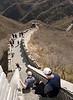 Navigating a steep stairway