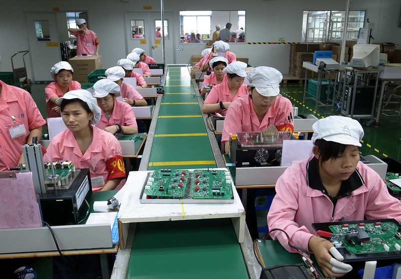 an electronics assembly line