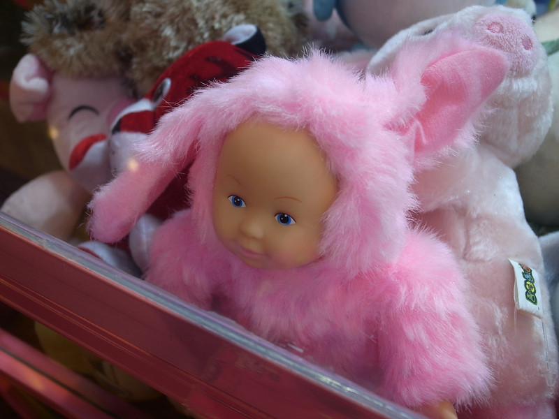 creepy toy in a vending machine