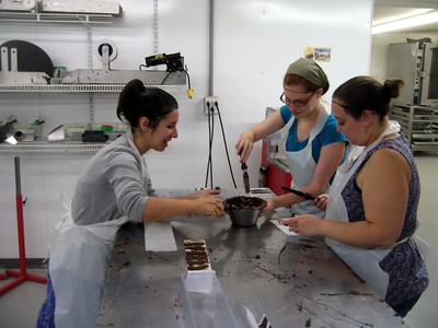 Alyssa (l), Laura, and Katie discuss their approaches to chocolate