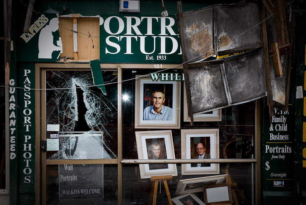 Photographer's damaged gallery shopfront
