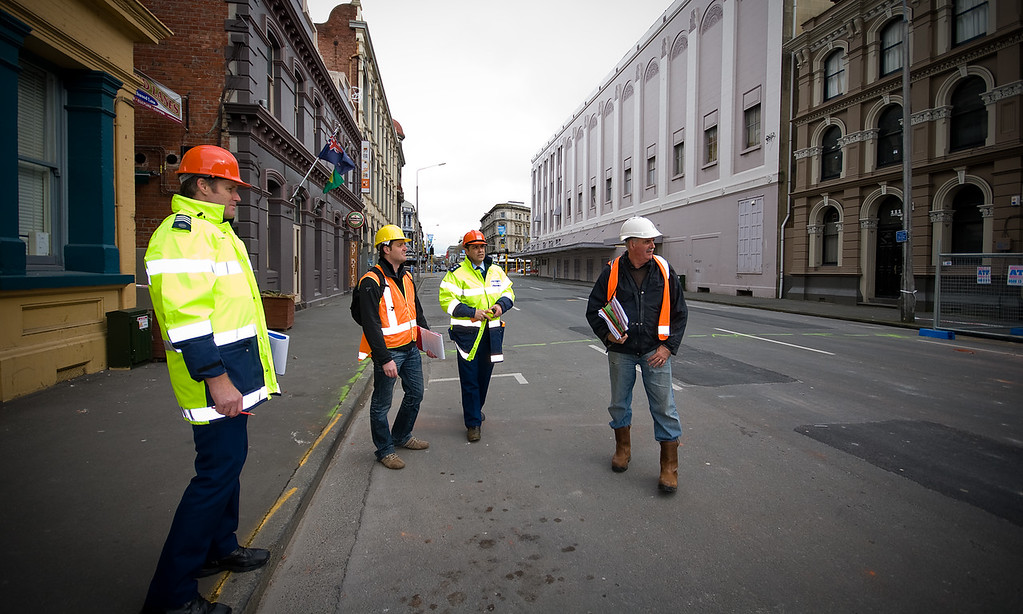 Police and engineers inspect buildings