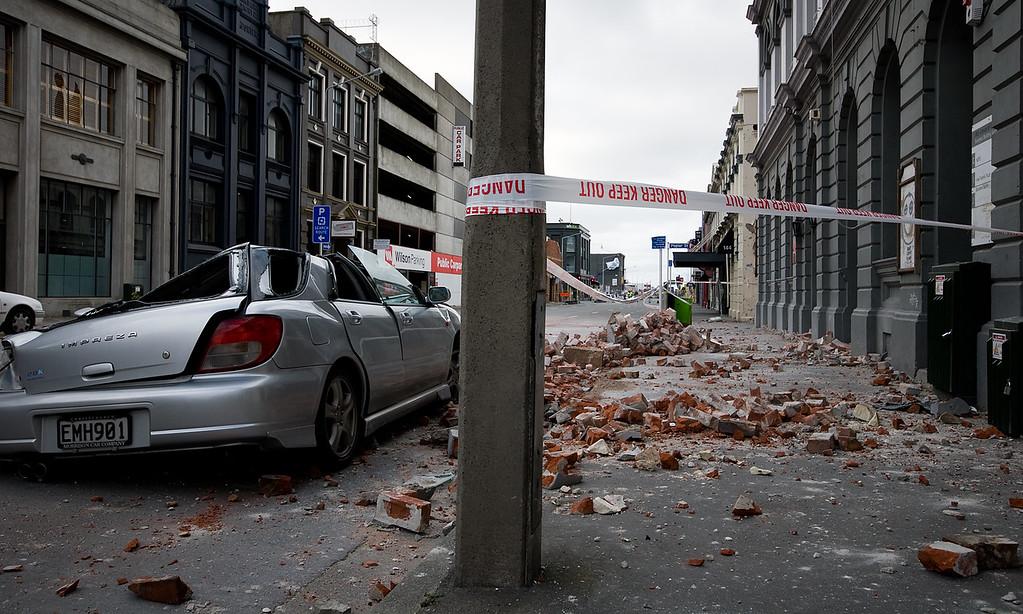 Car crushed by main earthquake
