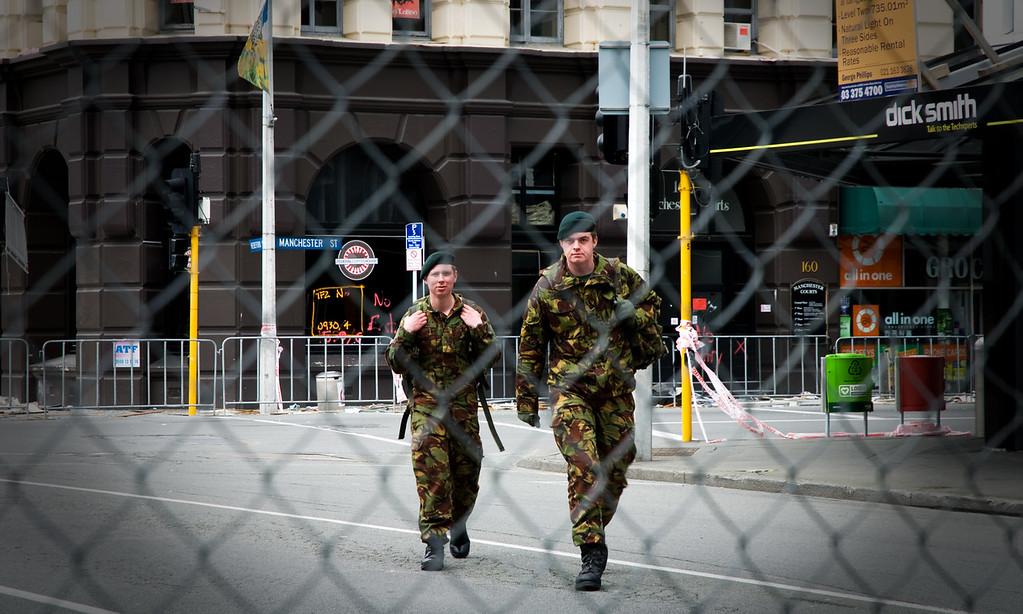Army personnel on patrol inside CBD cordon