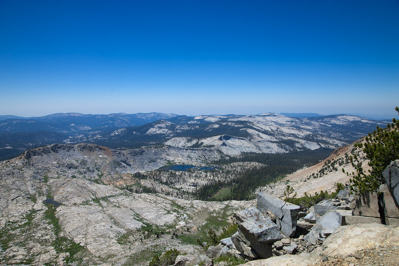 Westward view of Merced Lakes basin and crest